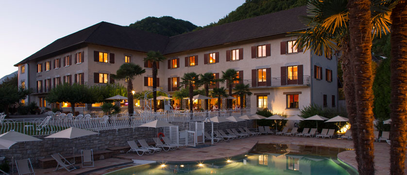 Hotel Les Grillons, Talloires, Lake Annecy, France - Outdoor pool at dusk.jpg